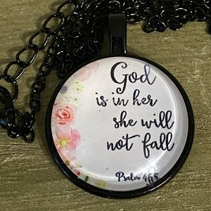 Jewelry - 3/$25 God Is In Her She Will Not Fall Necklace